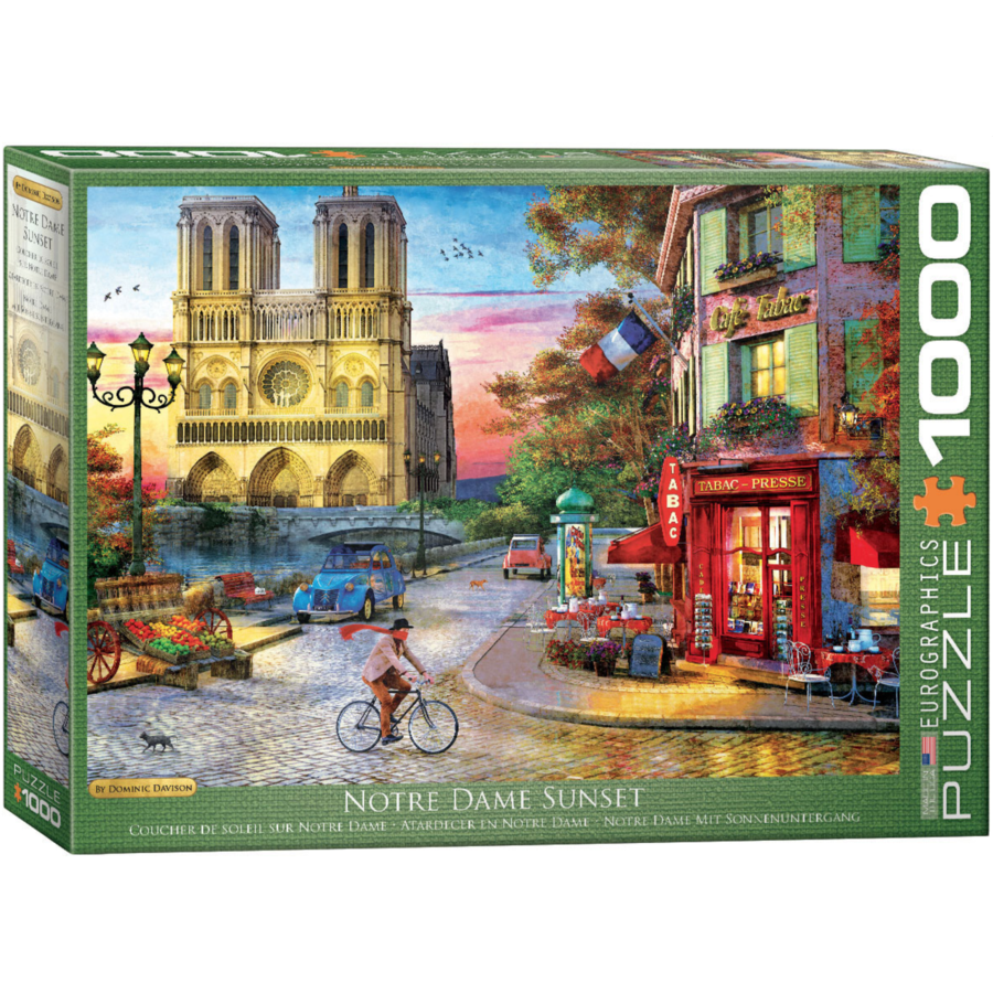 Sunset at the Notre Dame in Paris - 1000 pieces - jigsaw puzzle-1