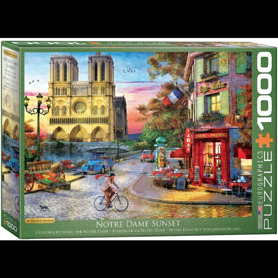 Zonsondergang bij de Notre Dame de Paris - puzzel van 1000 stukjes-1
