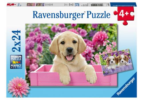 Ravensburger Les chiens dans le panier - 2 x 24 pièces