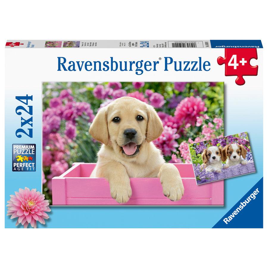 Les chiens dans le panier - 2 puzzles de 24 pièces-1