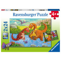 thumb-Happy dinosaurs - 2 puzzles of 24 pieces-1