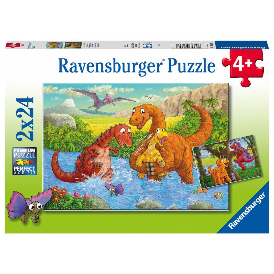 Vrolijke dino's - 2 puzzels van 24 stukjes-1