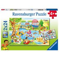 thumb-Plezier aan het meer - 2 puzzels van 24 stukjes-1