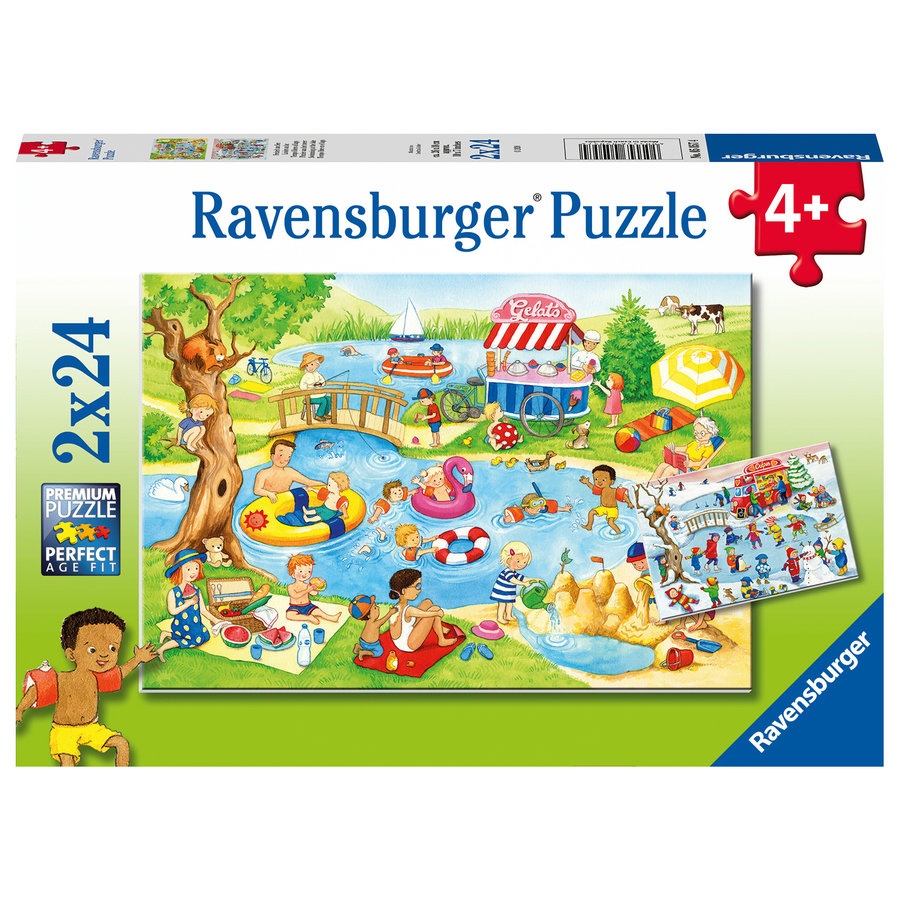 Fun at the lake - 2 puzzles of 24 pieces-1