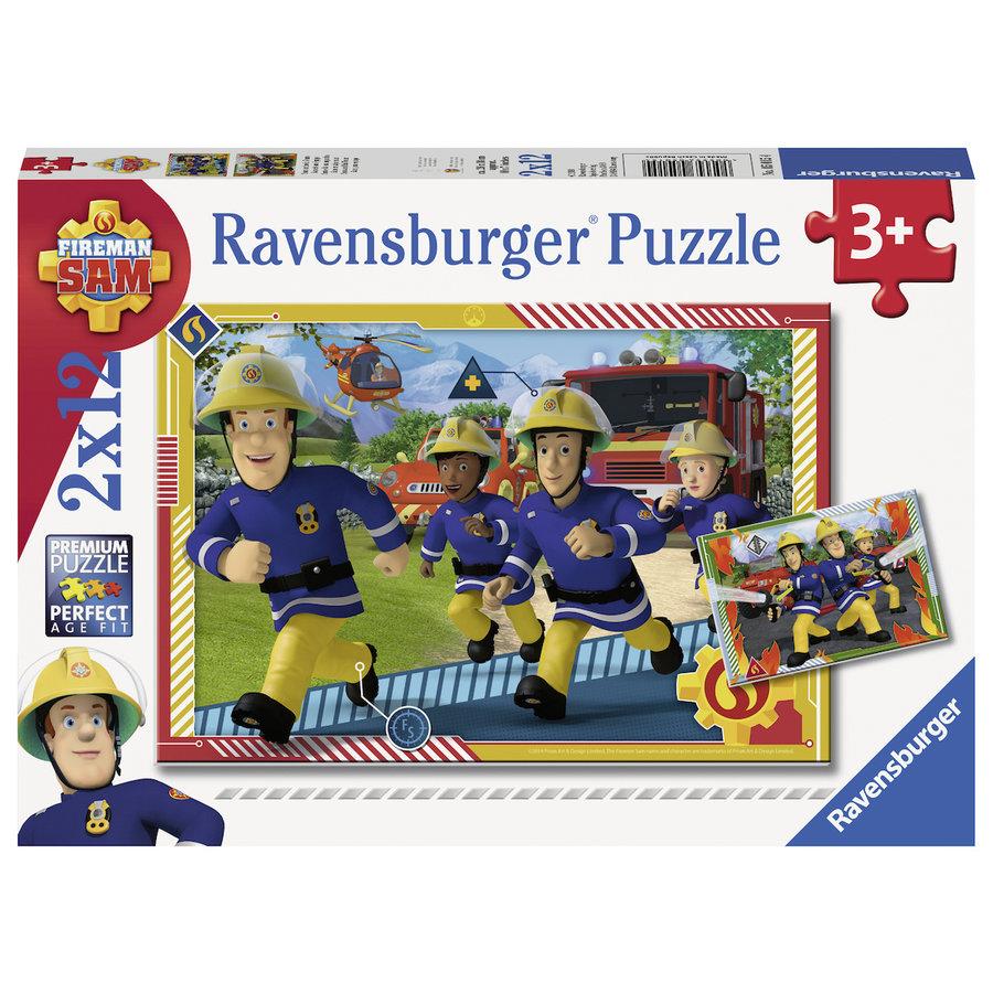 Brandweerman Sam - 2 puzzels van 12 stukjes-1
