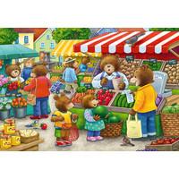 thumb-In de winkel en op de markt - 2 puzzels van 12 stukjes-1