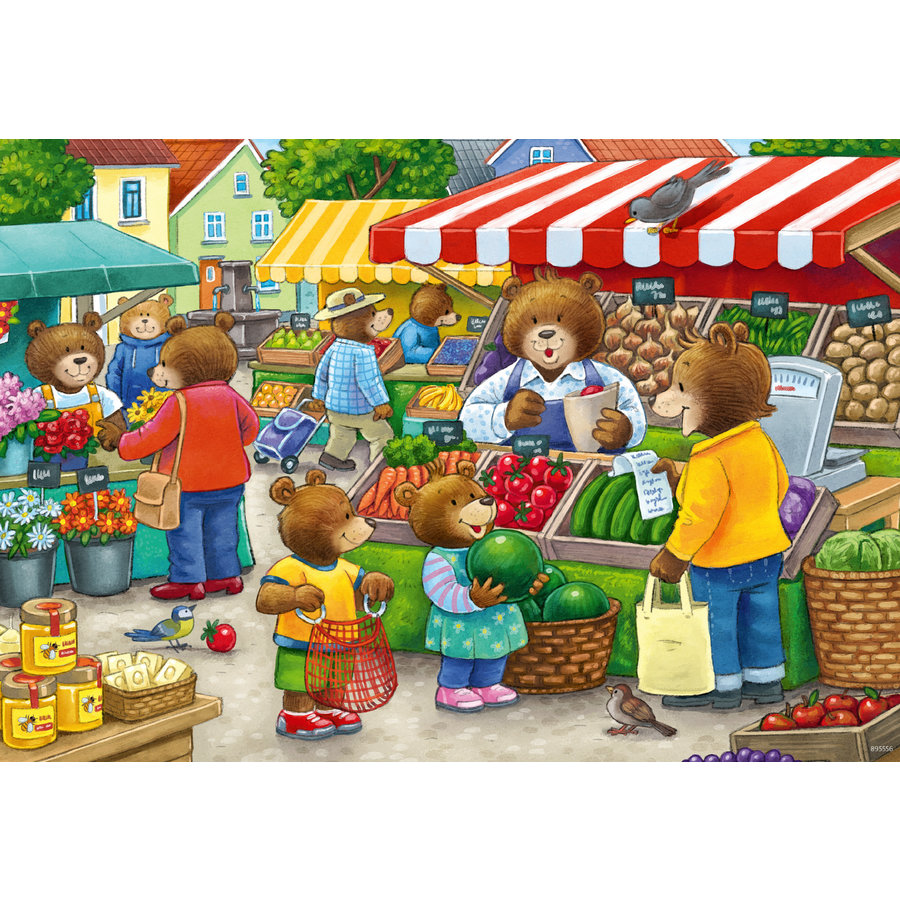 In the shop and on the market - 2 puzzles of 12 pieces-1