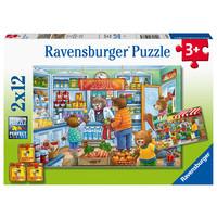 thumb-Dans le magasin et sur le marché - 2 puzzles de 12 pièces-3