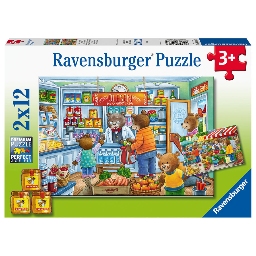 In the shop and on the market - 2 puzzles of 12 pieces-3