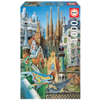 thumb-Miniature puzzle - Gaudi Collage - 1000 pieces-1