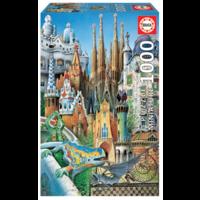 thumb-Miniatuur puzzel - Gaudi Collage - 1000 stukjes-1