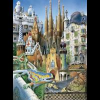 thumb-Miniatuur puzzel - Gaudi Collage - 1000 stukjes-2
