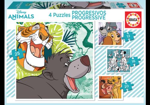 4 puzzels van Disney dieren - 12, 16, 20 en 25 stukjes
