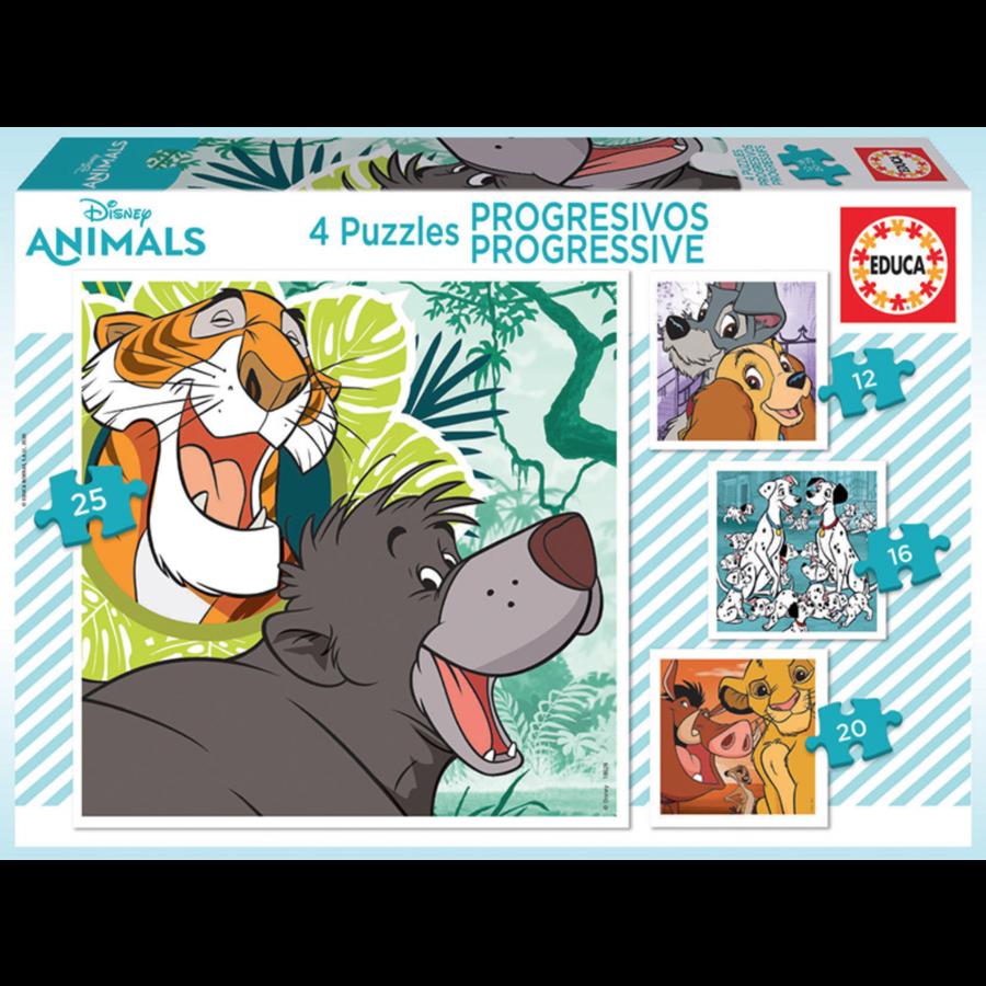 4 puzzels van de Disney dieren - 12, 16, 20 en 25 stukjes-1
