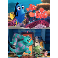 HOUT: Pixar - Nemo en Dory - Monsters Inc. - 2 x 25 stukjes