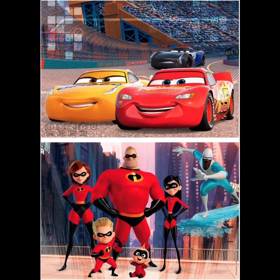HOUT: Pixar - Cars & Incredibles - 2 puzzels van 50 stukjes-1
