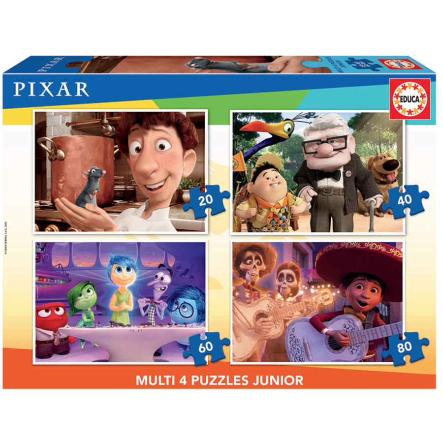 Films de Pixar  - 4 puzzles of 20 / 40 / 60 / 80 pieces-1