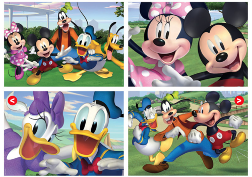 Mickey Mouse and co. - 4 puzzles of 20 / 40 / 60 / 80 pieces