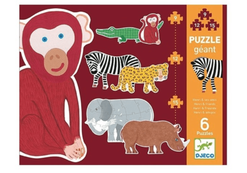6 giant wild animals - 9, 12 and 15 pieces