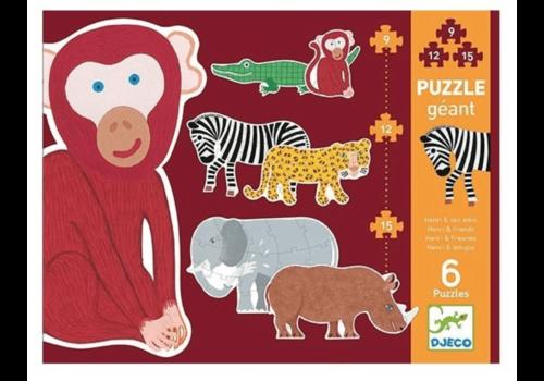 Djeco 6 reuzengrote wilde dieren - 9, 12 en 15 stukjes