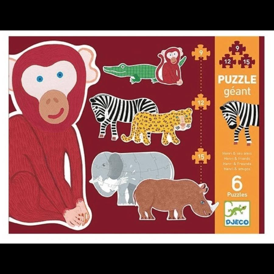 6 puzzles géants des animaux sauvages - 9, 12 et 15 pièces-1