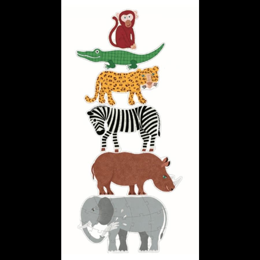 6 puzzles géants des animaux sauvages - 9, 12 et 15 pièces-2