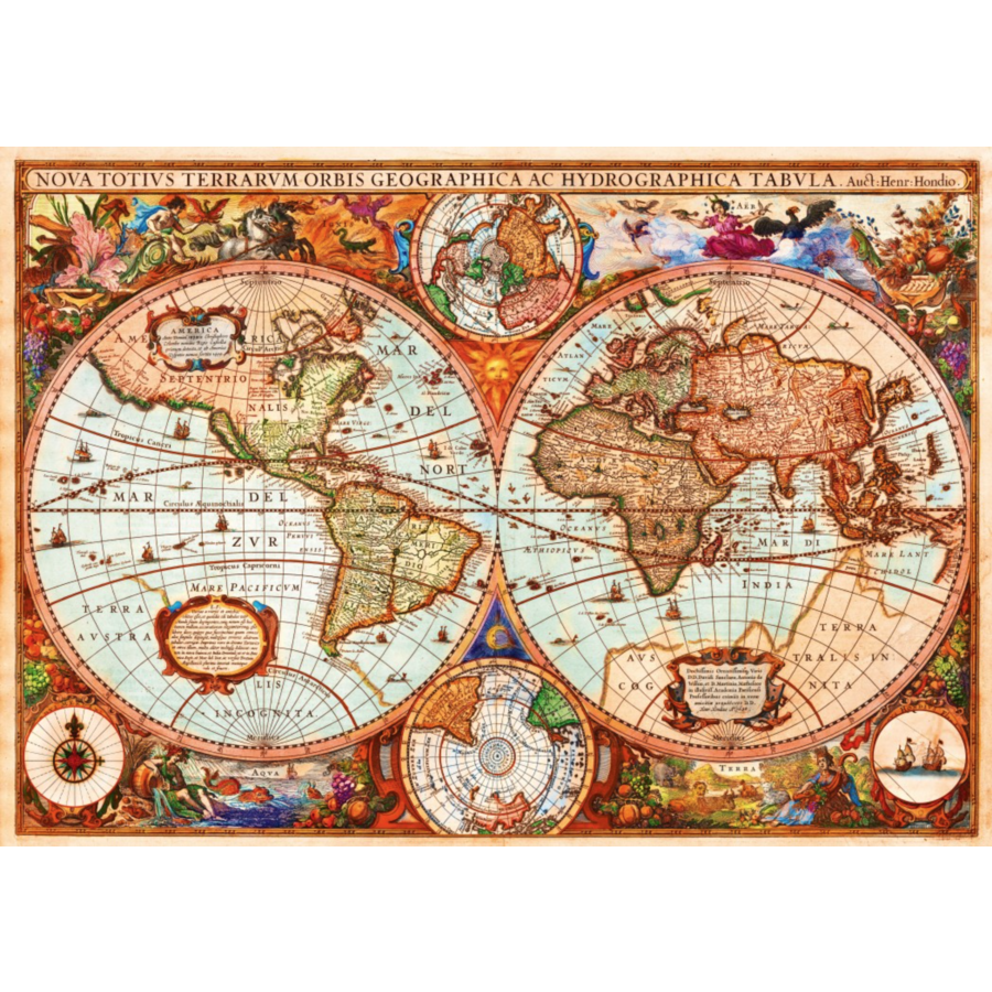 Ancienne carte du monde - puzzle de 1000 pièces-1