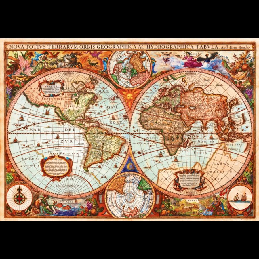 Antieke wereldkaart - puzzel van 1000 stukjes-1