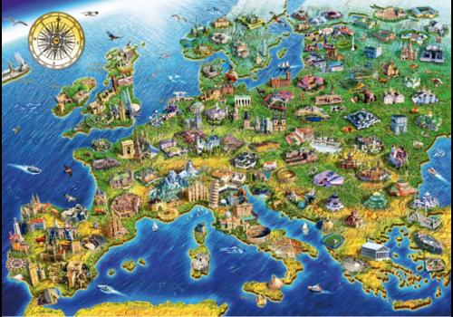 Bluebird Puzzle Carte européenne - 1000 pièces