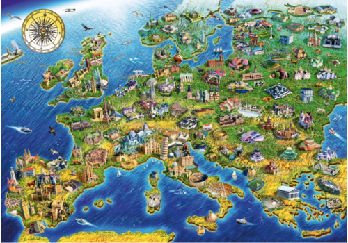 Bluebird Puzzle Europese landkaart - 1000 stukjes