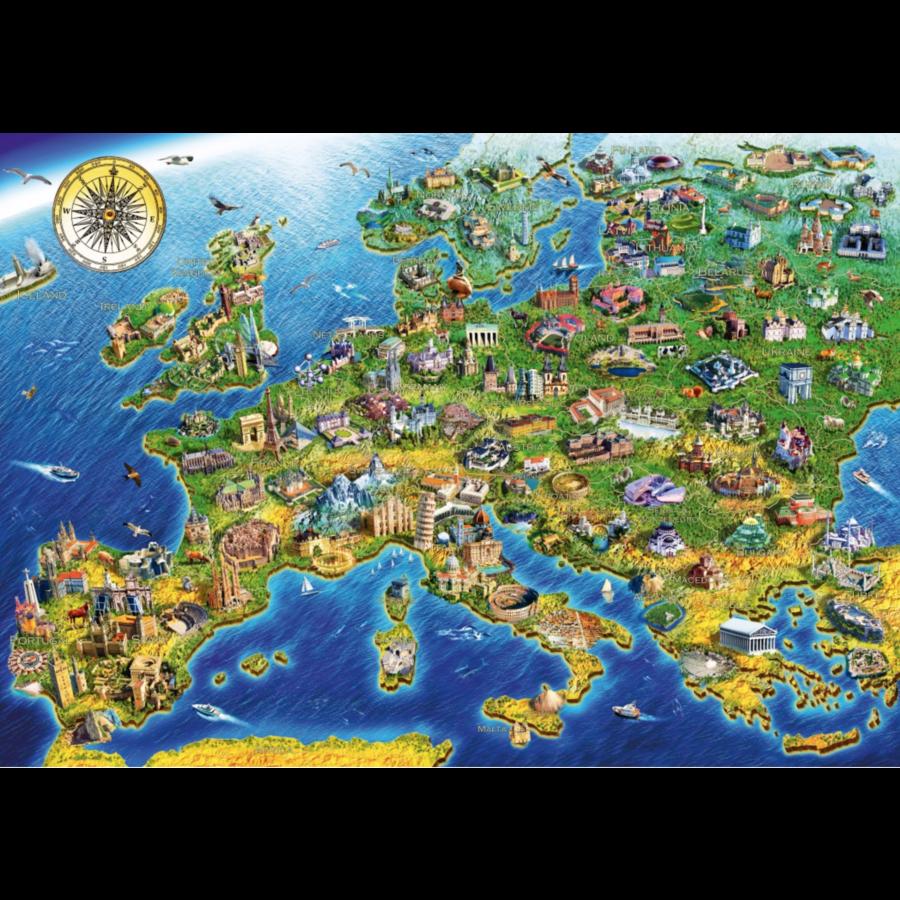 Europese landkaart - puzzel van 1000 stukjes-1