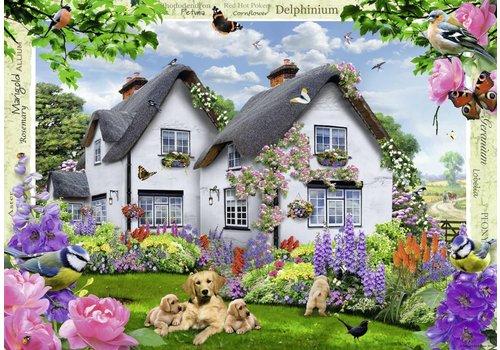 De cottage in bloemenpracht - 1000 stukjes