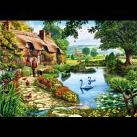 thumb-Cottage bij het meer - puzzel van 1000 stukjes-1