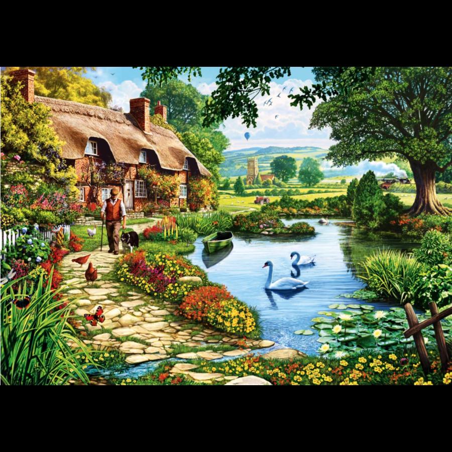Cottage au bord du lac - puzzle de 1000 pièces-1
