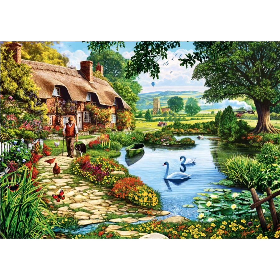 Cottage by the lake - puzzle of 1000 pieces-1