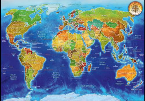 Bluebird Puzzle Carte du monde - 1000 pièces