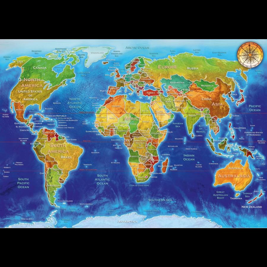 Wereldkaart - puzzel van 1000 stukjes-1