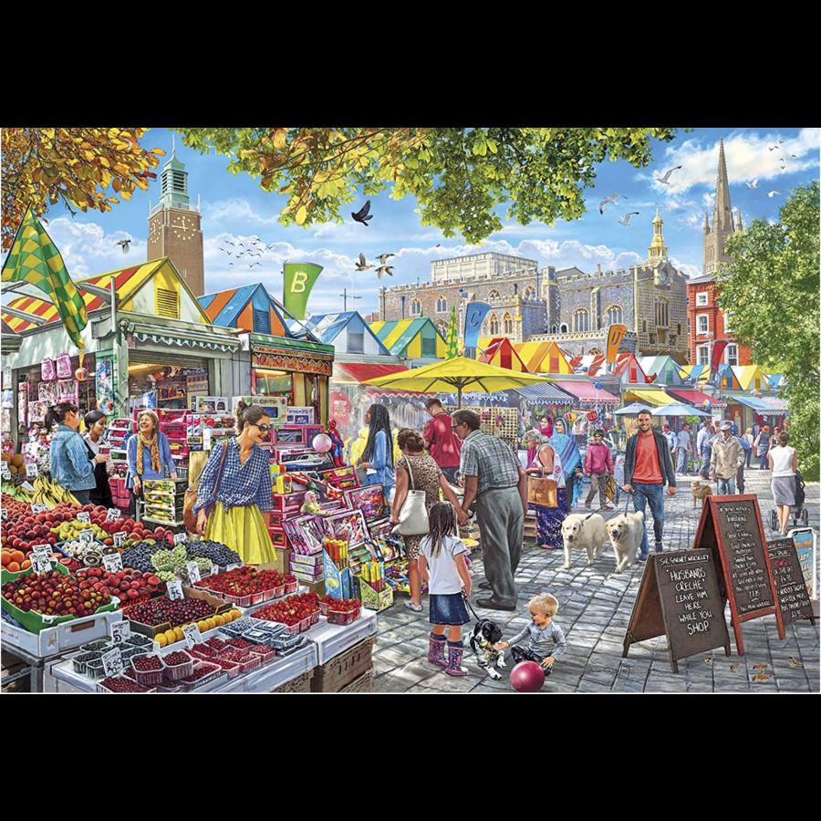 Jour de marché à Norwich - puzzle de 1000 pièces-1