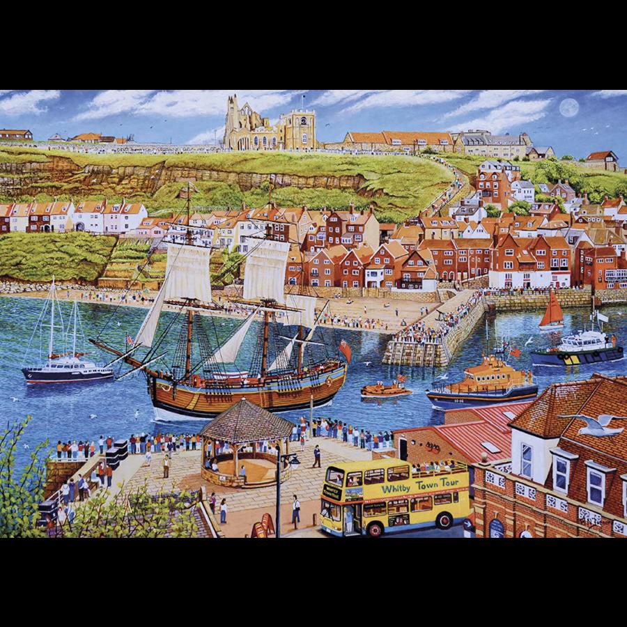 Het zeilschip Endeavour in de haven - puzzel van 1000 stukjes-1