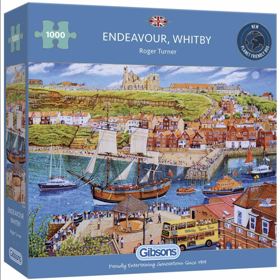Het zeilschip Endeavour in de haven - puzzel van 1000 stukjes-2