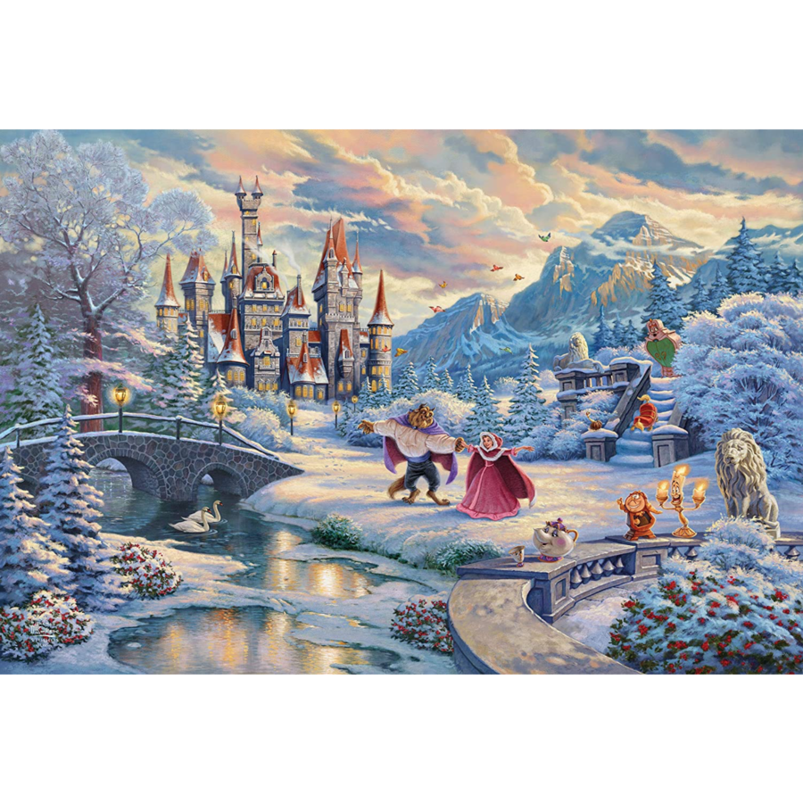 Beauty and the Beast Winter- Thomas Kinkade - jigsaw puzzle of 1000 pieces-2
