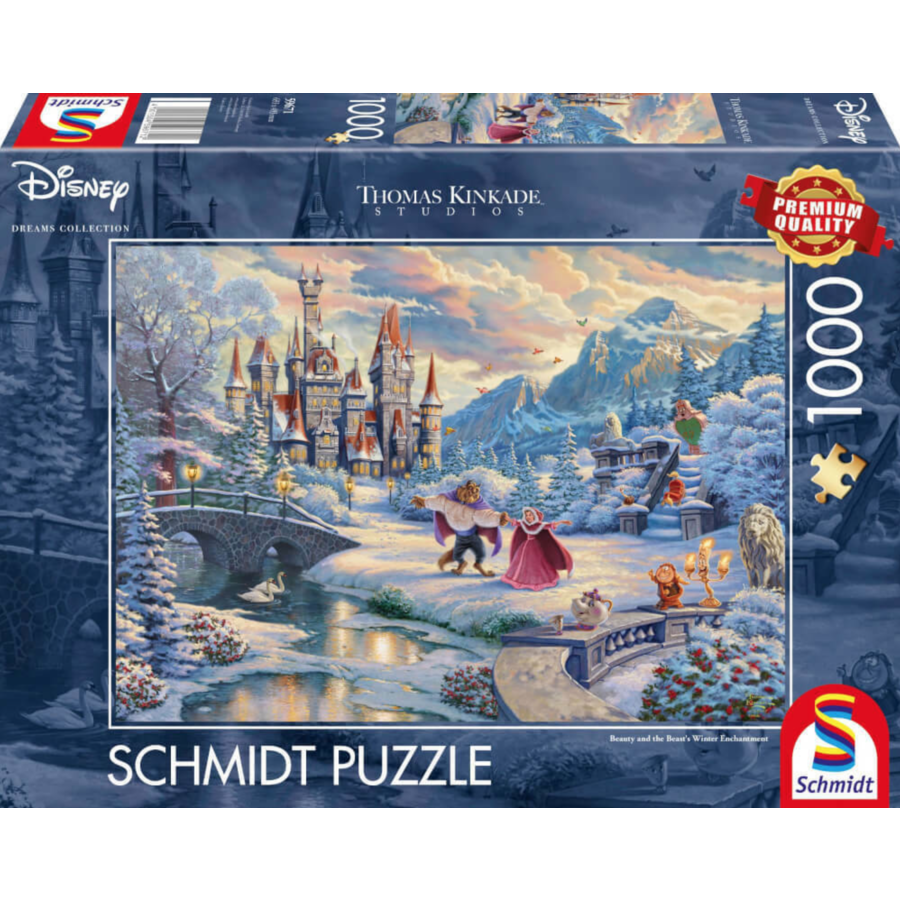 Beauty and the Beast Winter- Thomas Kinkade - jigsaw puzzle of 1000 pieces-1
