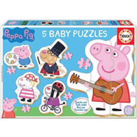 thumb-5 puzzles of Peppa Pig - from 3 to 5 pieces-1