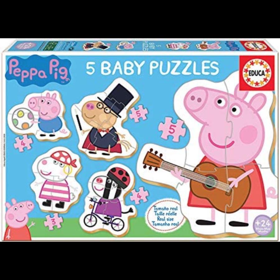 5 puzzeltjes van Peppa Pig - van 3 tot 5 stukjes-1