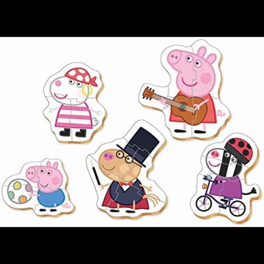 5 puzzeltjes van Peppa Pig - van 3 tot 5 stukjes-2