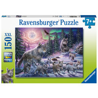 thumb-Wolves in the Northern Lights  - puzzle of 150 pieces-1