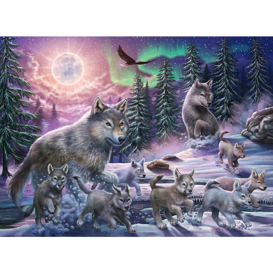Wolves in the Northern Lights  - puzzle of 150 pieces-2