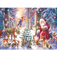 thumb-Kerstmis in het bos - puzzel van 100 stukjes-2