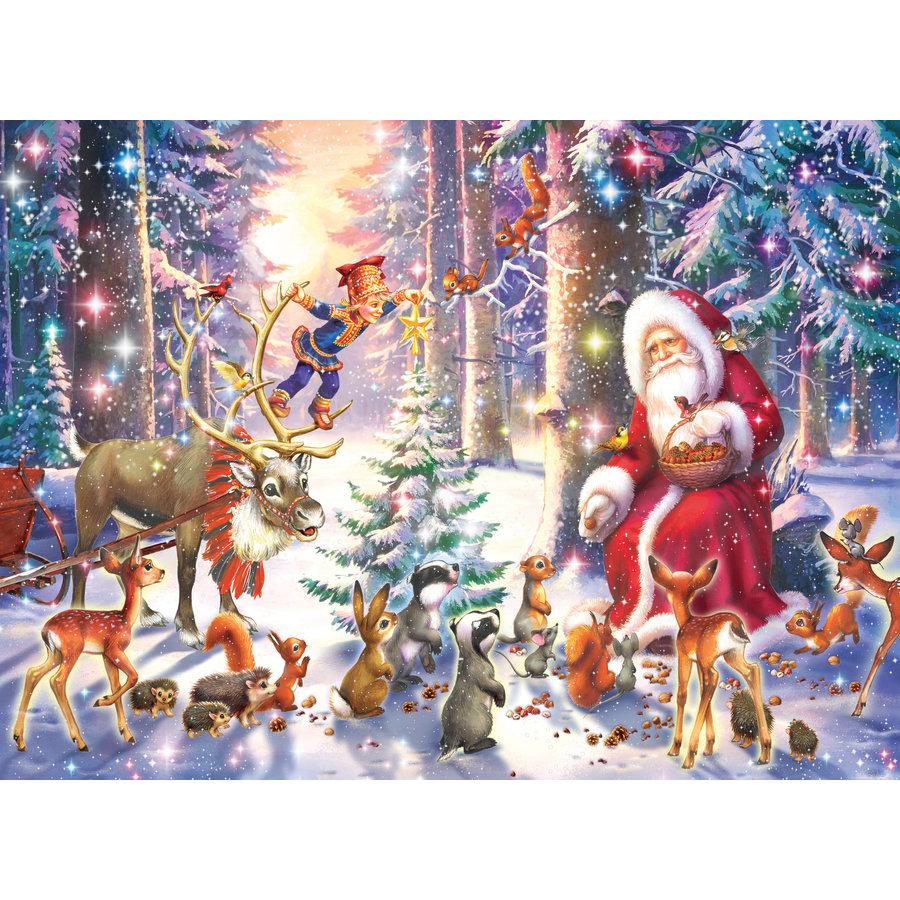 Kerstmis in het bos - puzzel van 100 stukjes-2