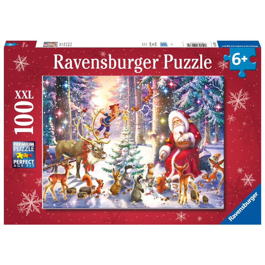 Kerstmis in het bos - puzzel van 100 stukjes-1
